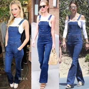 FRAME Palazzo Jumpsuit Denim Overalls Longwater XS